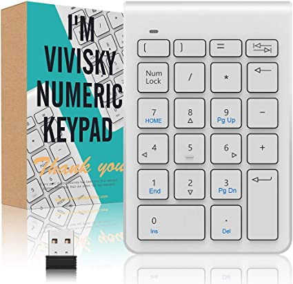 Wireless Numeric Keypad,VIVISKY 2.4G Mini USB Portable Number Keyboard 22 Keys Financial Accounting Digital Number Pad for Laptop Desktop PC Pro and More