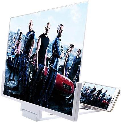 YYHOUS Lupa Pantalla 3D 14 Pulgadas, Amplificador Películas HD Portátil con Soporte Plegable Soporte Pantalla Proyector Teléfono para Películas Videos Compatible Juegos,Blanco: Amazon.es: Hogar