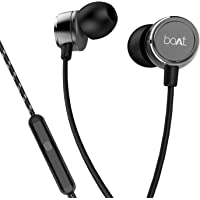 boAt BassHeads 172 with HD Sound, in-line mic, Dual Tone Secure Braided Cable & 3.5mm Angled Jack Wired Earphones (Black)
