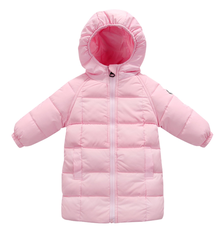 Happy Cherry Baby Girls Winter Hooded Coat Zipper up Puffer Outwear Windproof Thicken Down Jacket 1-2T Pink