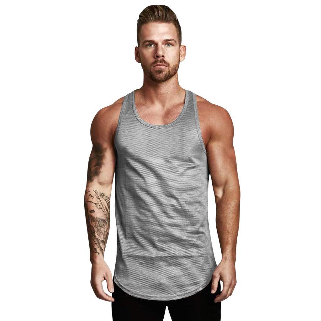 Sleeveless A-Shirts Men's Racerback Tank Tops Undershirts Gym Workout Thin Breathable Training Y-Back Musle Shirt (Gray, XXL)