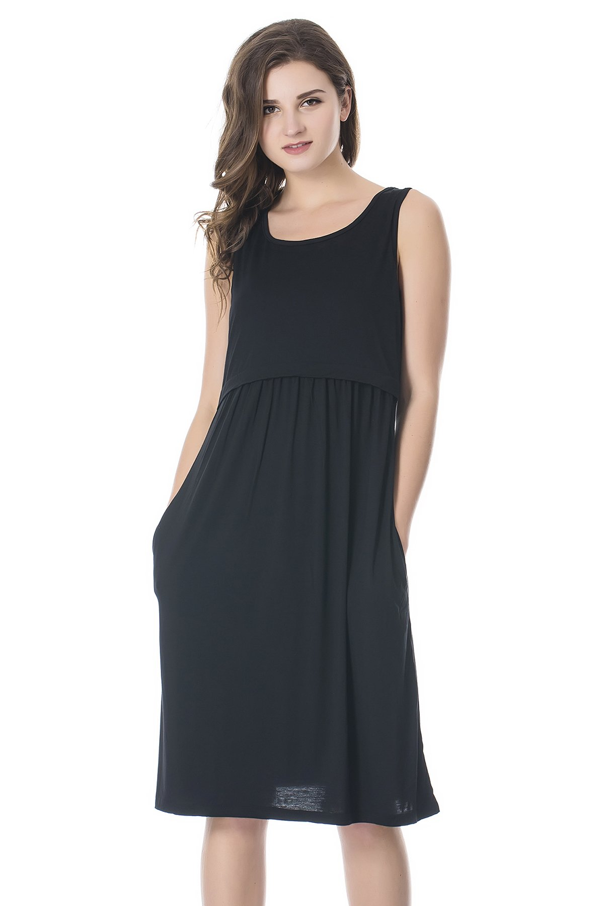 Bearsland Womens Sleeveless Maternity Dress Empire Waist Nursing Breastfeeding Dress Summer, Black, Medium