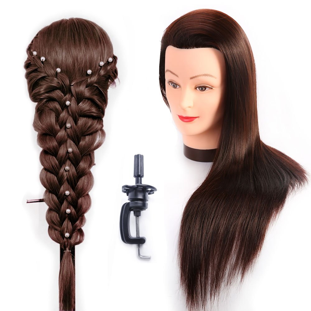 HAIREALM Hairdressing Training Heads 100% Synthetic Fiber Hair Mannequin Styling Dolls Head (Table Clamp Holder Included) ESC0418P