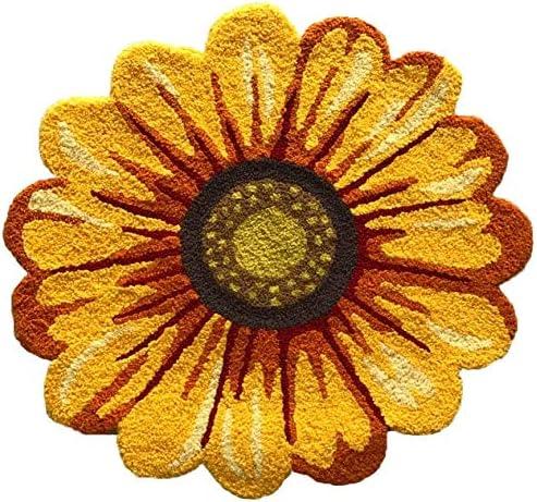 Yellow Sunflower Rug | Hand Woven Home Decoration, Modern Welcome Mat