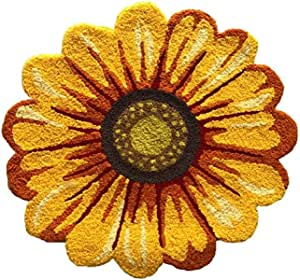 Amazon Com Yellow Sunflower Rugs For Bedroom Living Room Bathroom Kitchen Hand Woven Home Decoration Mat Modern Welcome Washable Non Slip Indoor Dining