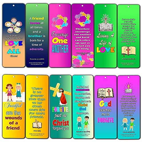 Favorite Bible Verses for Kids - Friendship, Love and Forgiveness (12-Pack) - Compilation of Memory Verses for Kids About Friendship, Love and Forgiveness (Best Bible Verses About Forgiveness)