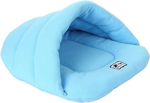 UEETEK Soft Warm Dog Cat Cave Bed House Cotton Plush Pet Sleeping Bag Sky Blue