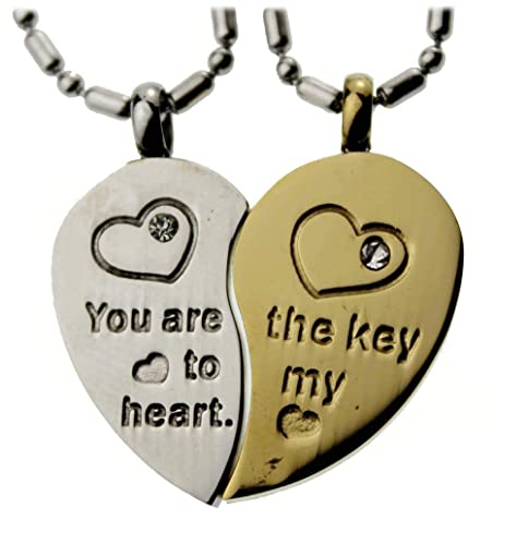 02010c9381 R.H. Jewelry Lovers Couple Stainless Steel Pendant, Split Heart Two Piece  Necklace Set