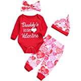 0-18 Months,Zimuuy Newborn Infant Baby Boy Girl Letter Romper Tops Pants Hat Headband Set Valentine Outfits