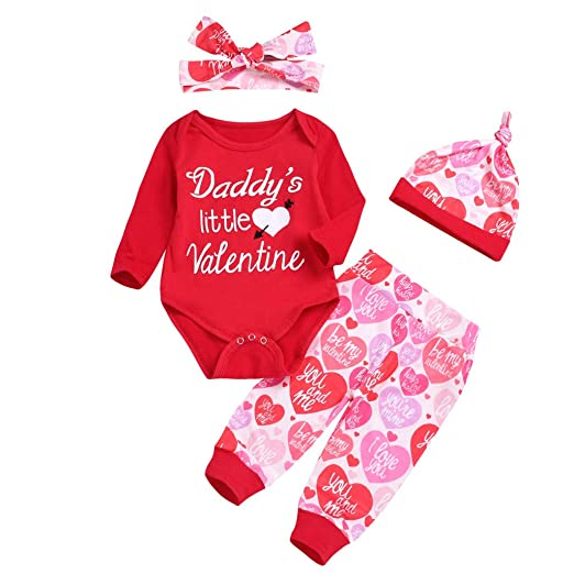 5d10d3ca611c Amazon.com  Sunhuisng Toddler Infant Baby Valentine s Day Outfits Letters  Print Long Sleeve Romper+Pants+Hat Set  Clothing