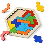 Brain Teasers Puzzles Toy for Kids & Adults | 16 Pcs Wooden Colorful Hexagon Fun Geometry Logic Tangram Puzzles Table IQ Game