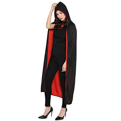 WESTLINK Cloak with Collar Costume Cape (35-66inches) Black Red Reversible: Clothing