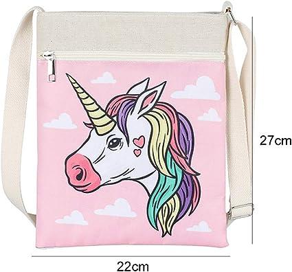 Trendy Unicorn Bag Printed Canvas Crossbody Bag Purse Bag for Girls Women Travel Shoulder Bag Handbags 8.7