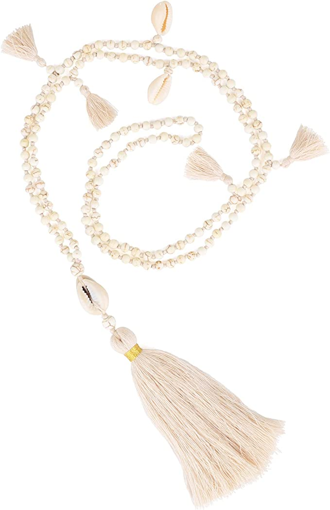 Mala Y Shaped Necklace for Women Girl Buddha Head Turquoise Beads Thread Strand Tassel Bohemian