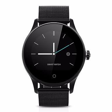 Ablebro Reloj inteligente IPS redondo Protector de apoyo Monitor de frecuencia cardiaca Bluetooth Metal reloj k88h