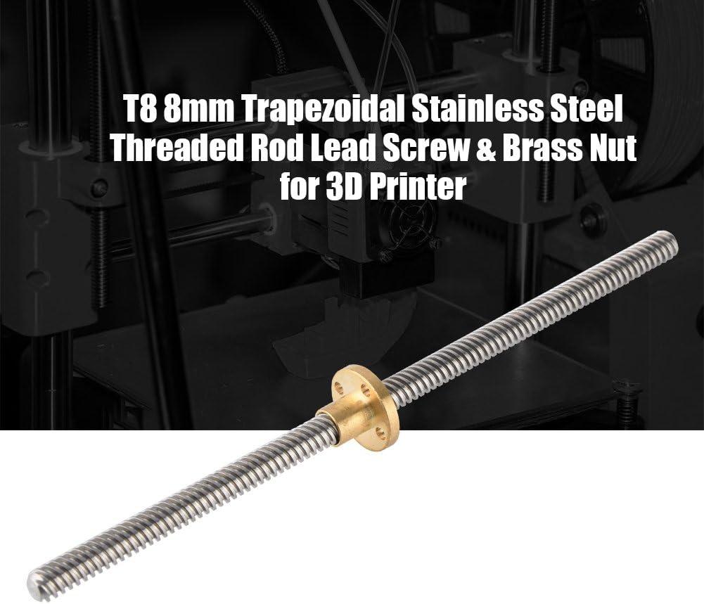VBESTLIFE T8 8mm Edelstahl Gewindestange 500mm Schaft mit Mutter Messing Einschraubstange f/ür 3D-Drucker.