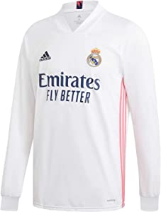 adidas Real Madrid CF Home Men's Long Sleeve Soccer Jersey- 2020/21 (Medium)