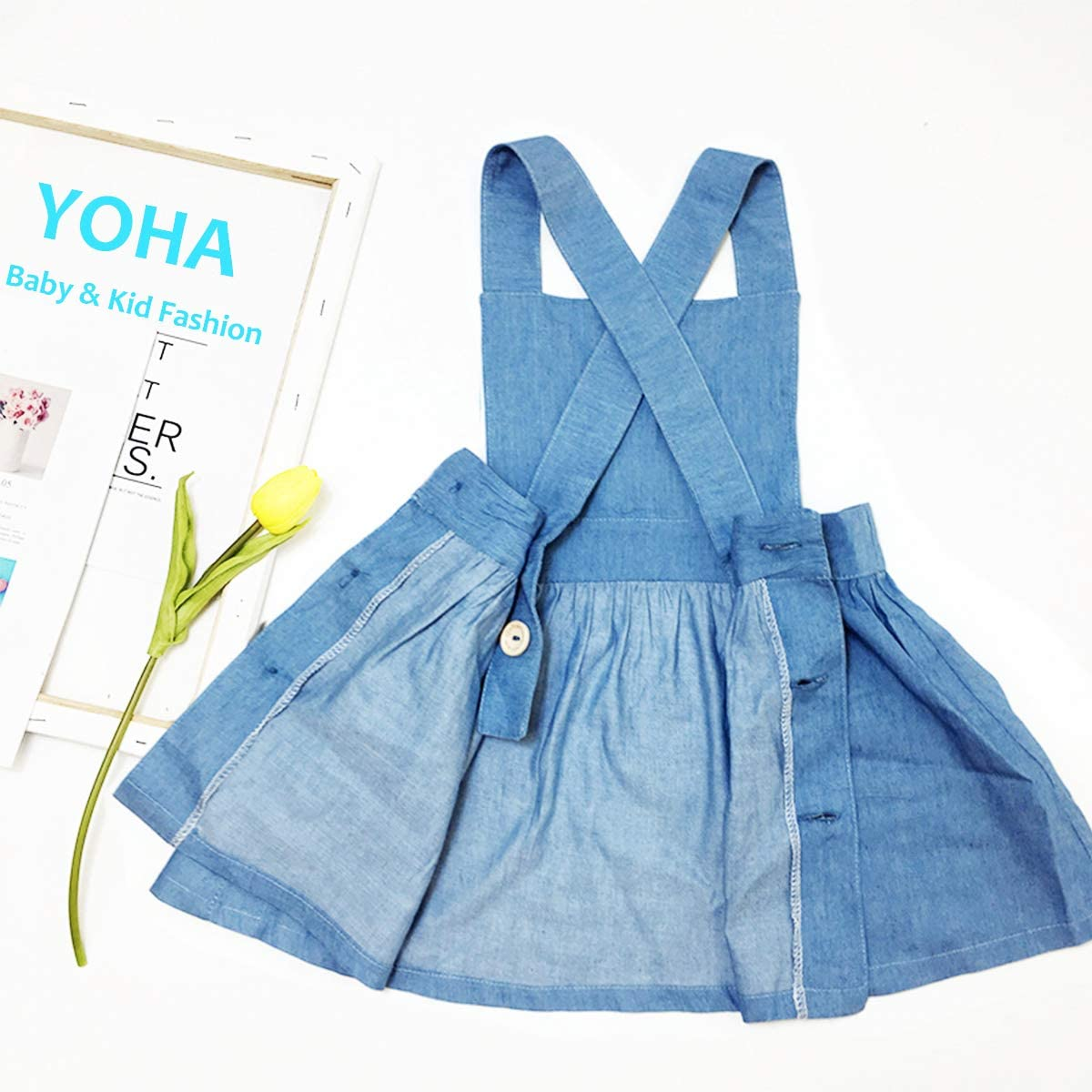 YOHA Baby Girls Denim Soft Jumper Dress Suspender Skirts Pinafore Tutu Dress