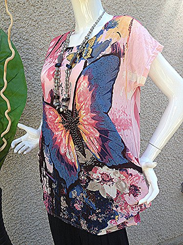 Tshirt taille 38/40/42/44 ample grande taille Femme haut fluide sexy ROSE