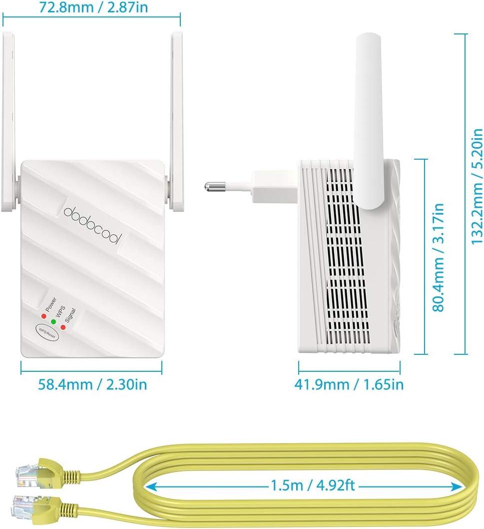 300 Mbps 2.4 GHz Amplificador WiFi AC1200 867 Mbps 5 GHz Se/ñal Extensor de Red WiFi Inal/ámbrico con Puerto RJ45 Gigabit Ethernet Modo Ap Bot/ón WPS dodocool Repetidor WiFi 1200Mbps
