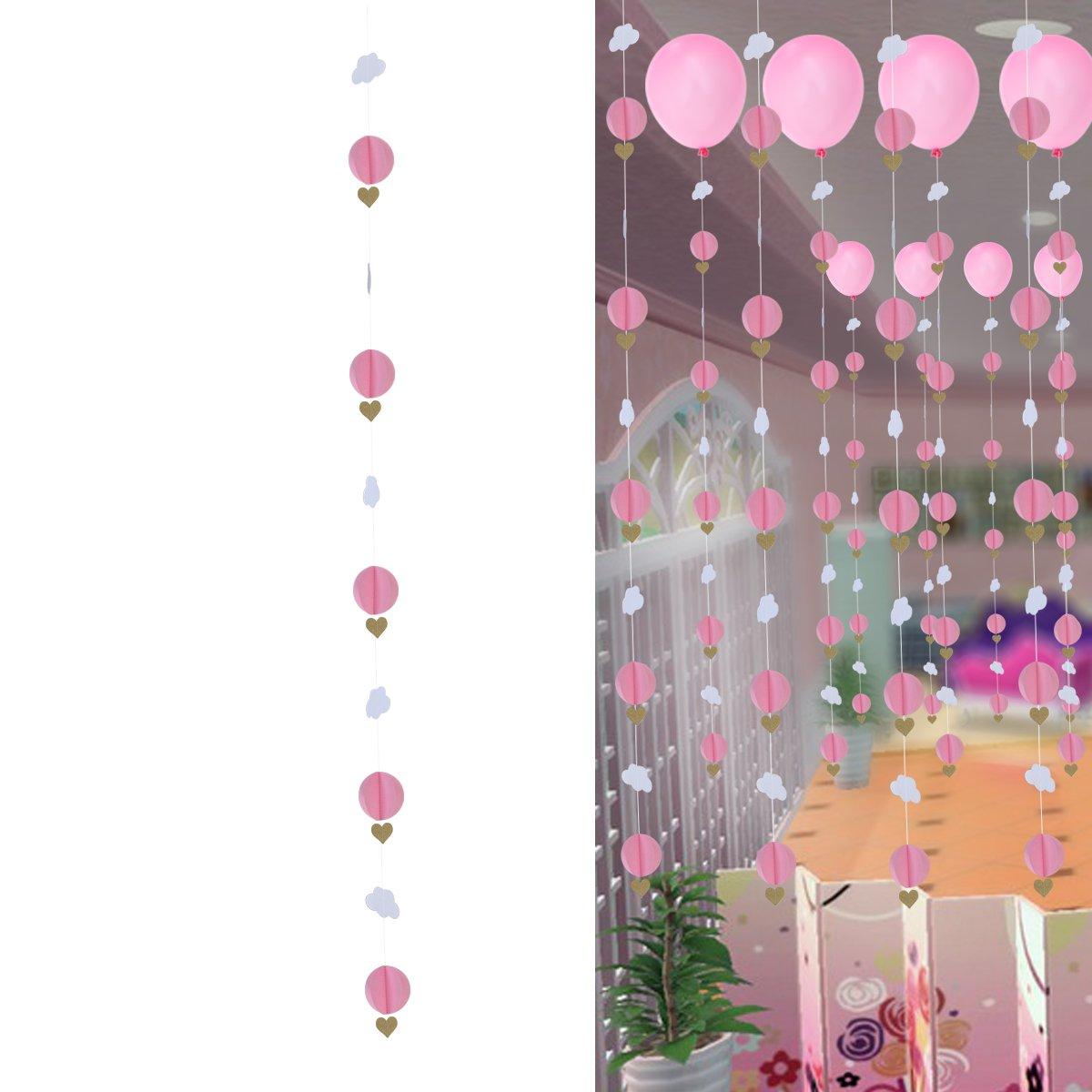 OULII 3dカラフルな雲Love Heartsガーランドハンギングウェディングバレンタインの日の装飾ベビールーム保育園装飾誕生日パーティーFavors (ピンク) B077Z78TNF