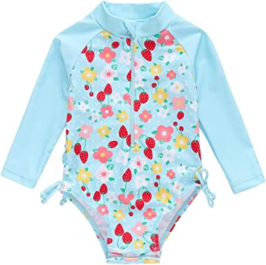 HUAANIUE Baby//Toddler Girl Swimsuit Long Sleeve Rashguard Swimwear