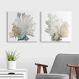 2 Piece Coral Canvas Wall Art Print Set, Beach Home Decor