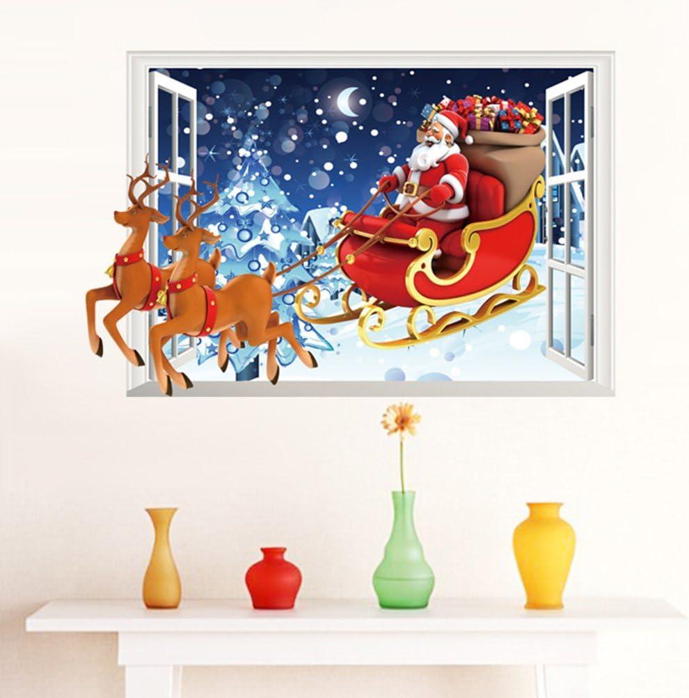 Tinksky Autocollant de mur en verre 3D Joyeux No/ël P/ère No/ël et Deers Autocollants muraux amovibles Autocollants pour vitres Autocollants Mural DIY Fond d/écran pour d/écoration de salle