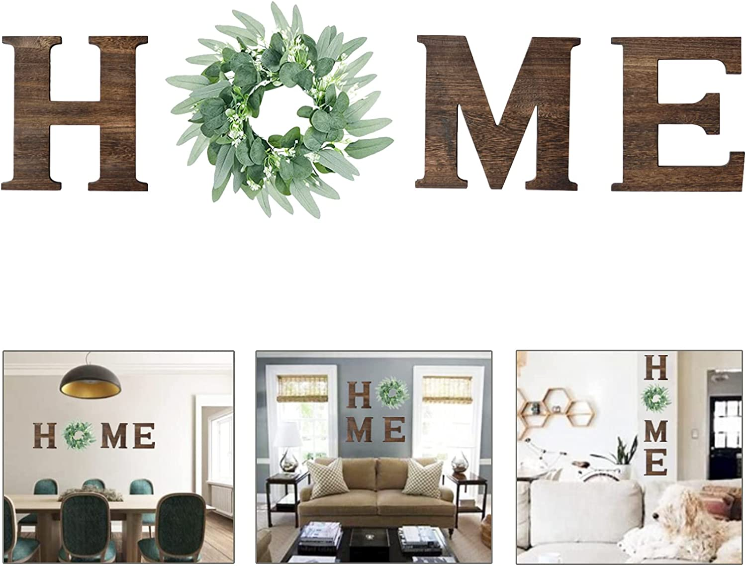 LHLJOYU Wooden Home Sign Decorative Wall Hanging Wood Letters Decor with Artificial Eucalyptus Wreath for Art Rustic Home Wall Living Room Kitchen Decorative Housewarming Gift (Brown, 9.3