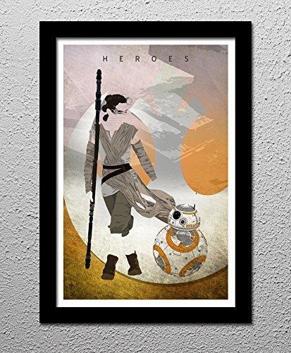 Rey and BB-8 Star Wars The Force Awakens Minimalist Original Poster Print Art
