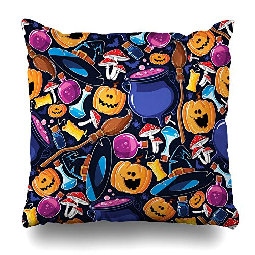Decorativepillows Case Throw Pillows Covers for Couch/Bed 18 x 18 inch, Halloween Cartoon Cute Funny Joy Pumpkin Smile Home Sofa Cushion Cover Pillowcase Gift Bed Car Living Home -