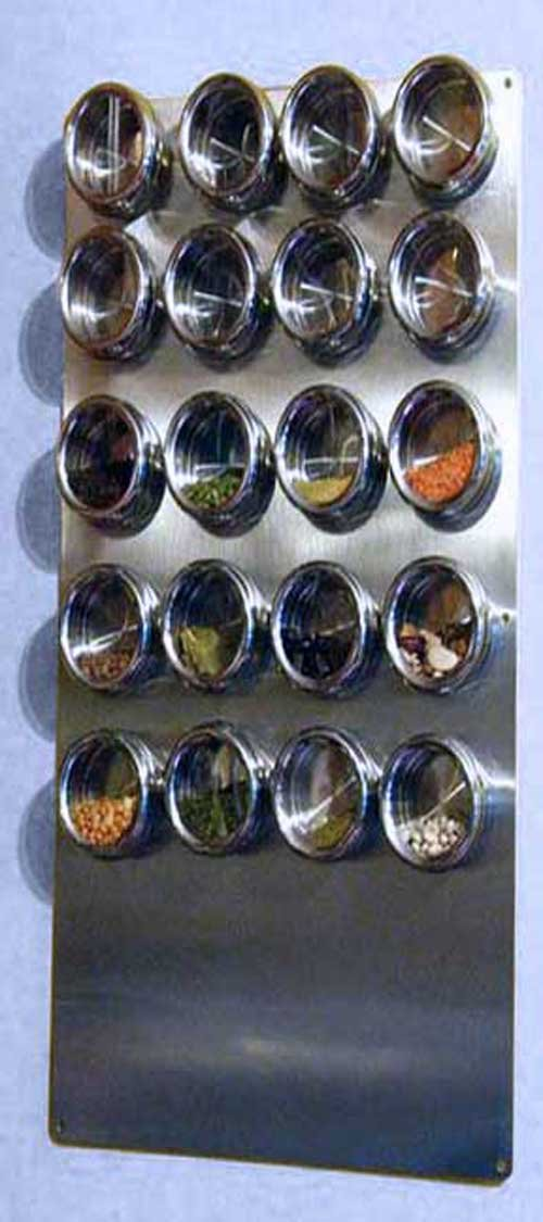 RiversEdge Products Custom Sized Stainless Spice Tin Wall Base for Magnetic Spice Tins