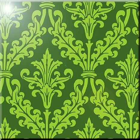 Rikki Knight Olive Green Color Design Ceramic Art Tile 12 x 12