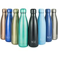 BOZ Stainless Steel Water Bottle - Vacuum Insulated Double Wall (500mL/17oz) Standard Mouth, BPA Free