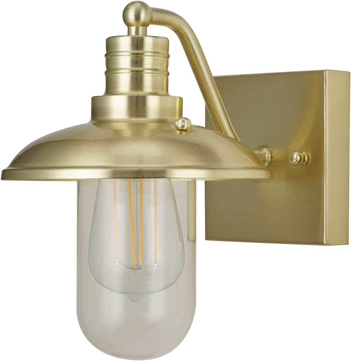 Amazon Brand – Stone & Beam Industrial Wall Sconce Light with Clear Glass Shade, 9.5