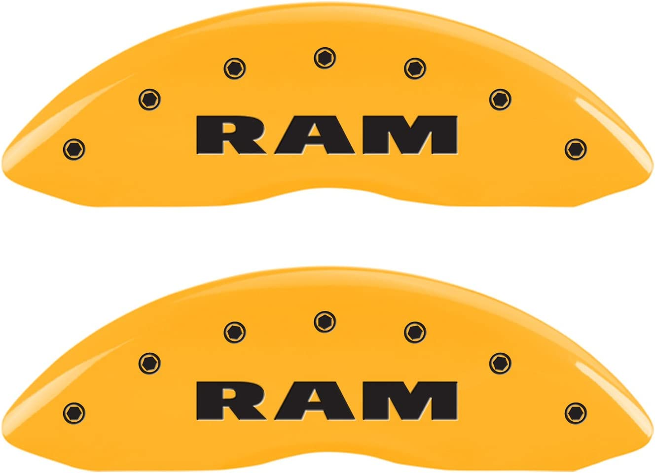 Yellow Engraved Front and Rear: Ram Powder Coat Finish Black Characters Set of 4 MGP Caliper Covers 55001SRAMYL Caliper Cover