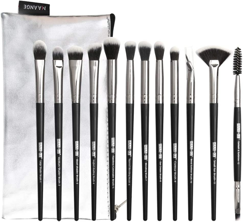 12 piezas de maquillaje sombra de ojos pincel resaltador pincel de maquillaje conjunto