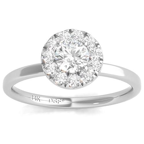 Diamond Studs Forever - Anillo compromiso halo diamantes certificado IGI 1/2K GH/I1