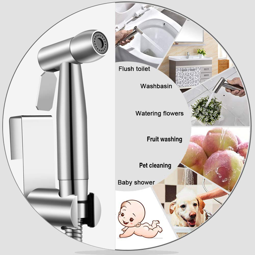 Anti-Rust GOBOW Hand Held Bidet Sprayer for Toilet Leak-Proof Baby Cloth Diaper Sprayer Bathroom Stainless Steel Wall Mount or Toilet Mount Ideal Choice for Family