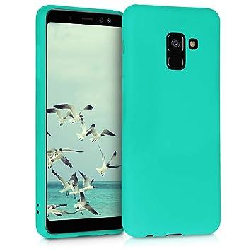 kwmobile Funda para Samsung Galaxy A8 (2018) - Carcasa para móvil en [TPU Silicona] - Protector [Trasero] en [Turquesa neón]
