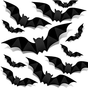CLESDF 128Pcs Bat Wall Decoration, 3D Scary Waterproof Bat Wall Stickers for Halloween Party Indoor Outdoor Decor Supplies
