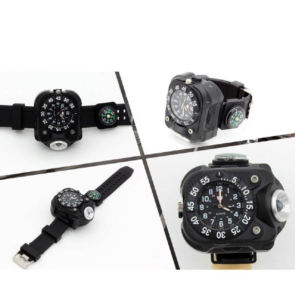 Hangang Watch Taschenlampe - LED-Licht R5 Wiederaufladbare wasserdichte LED-Laufuhr, am Besteen für Running Biking Bergsteigen Camping Wandern Patrol Hunting