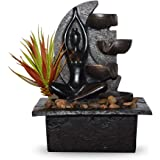 Indoor Tabletop Water Fountain with LED Light and Succulent Plant, Natural Stone Base with 4-Tiered Pouring Pots…