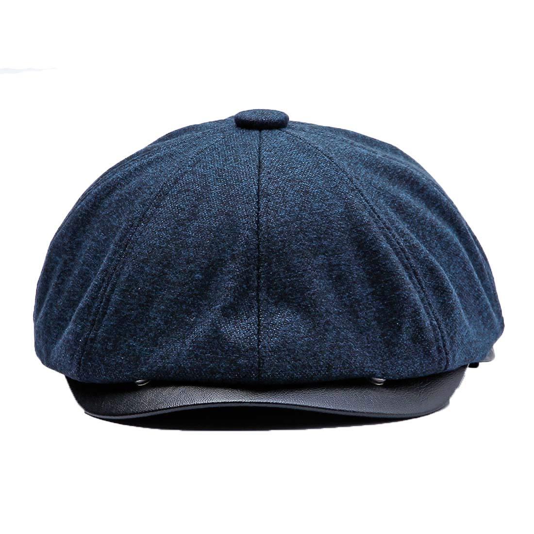 Topcoco Mens 8 Panel Wool Blend Warm Newsboy Snap Brim Collection Flat Cap