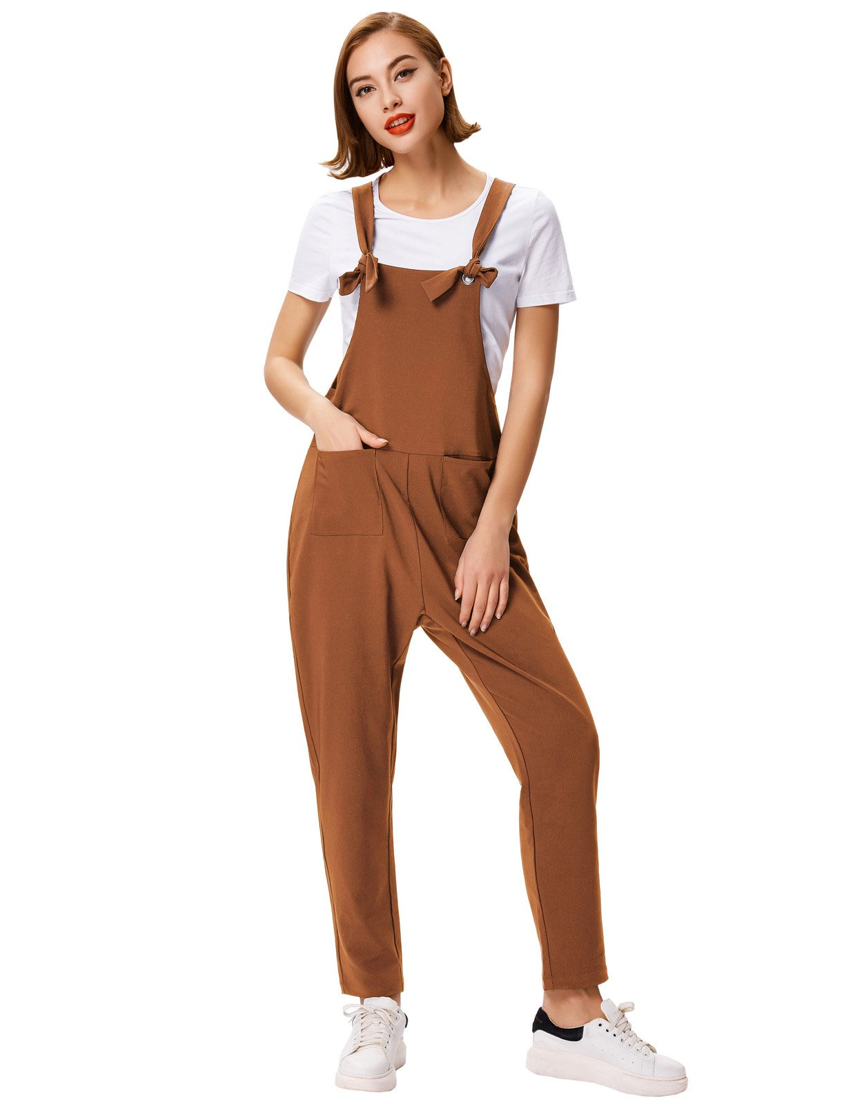 GRACE KARIN Women's Loose Baggy Boot Cut Leg Jumpsuit Rompers Overalls Pants S Coffee