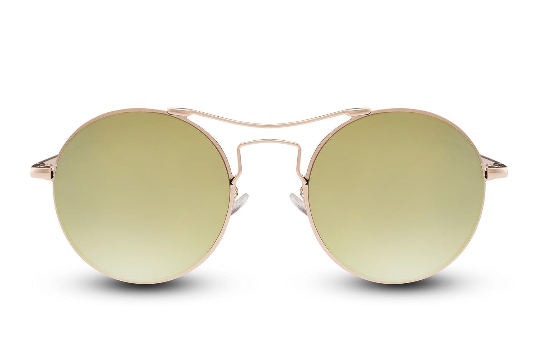 763b9ec39879 Cheapass Sonnebrille Rund John Lennon Gold Verspiegelt Retro Unisex 82385