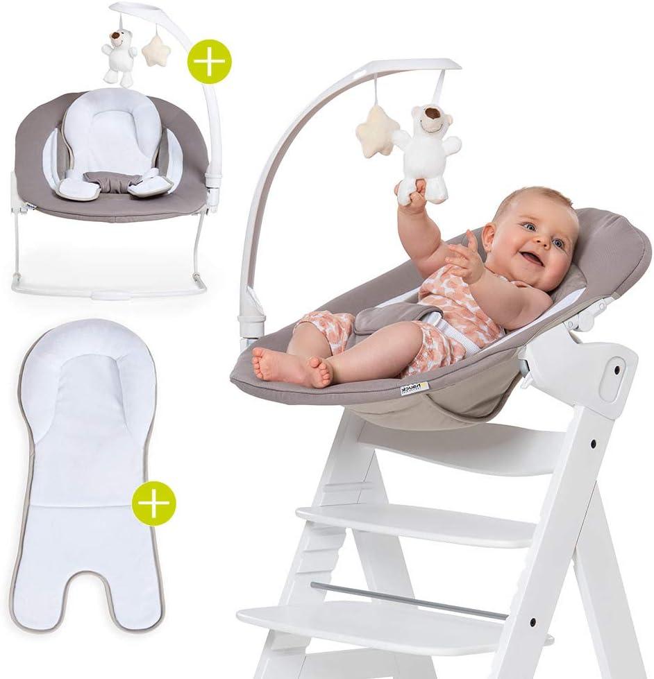 Hauck Bouncer 2 en 1 Deluxe para Tronas Alpha y Beta Plus - Hamaca para recién nacidos con respaldo reclinable y función mecedora - Sand