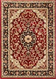 Noble Medallion Red Persian Floral Oriental Formal Traditional Area Rug 9×13 ( 9'3″ x 12'6″ ) Easy to Clean Stain Fade Resistant Shed Free Modern Contemporary Transitional Soft Living Dining Room Rug Review