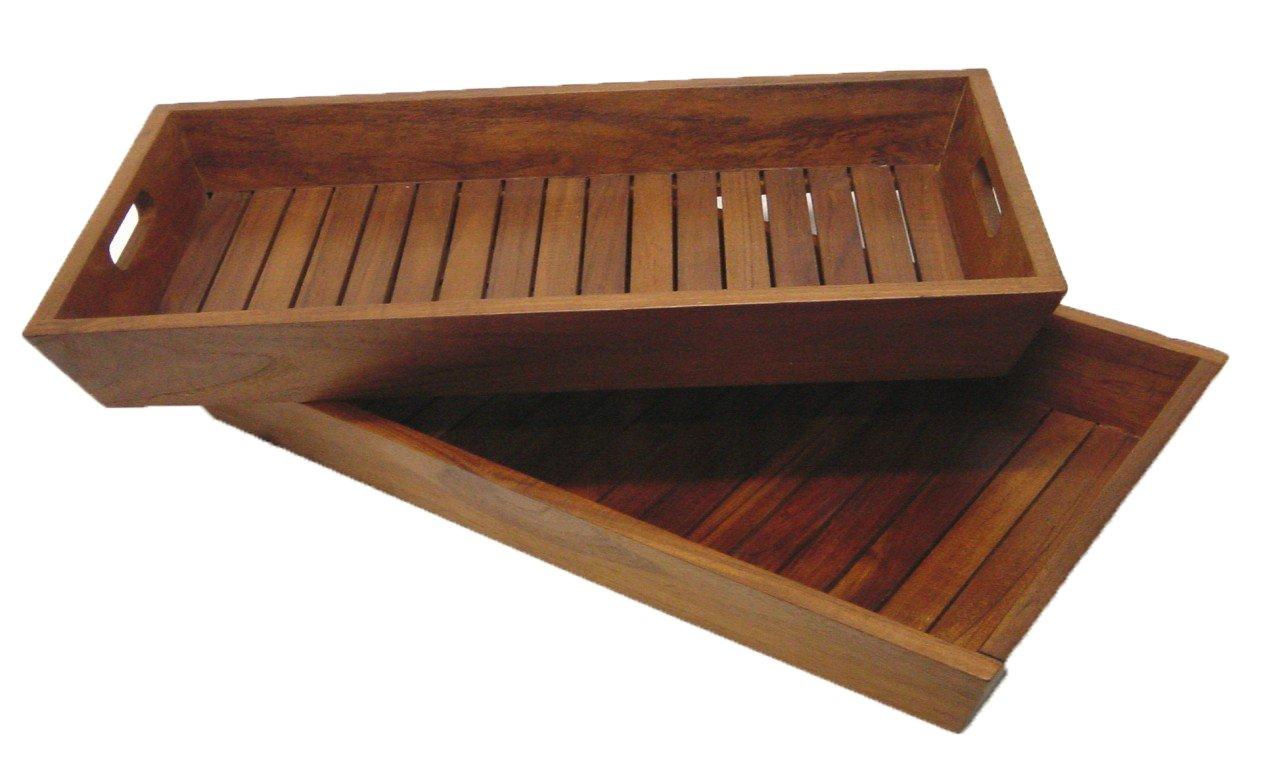The Original Set of 2 Nesting Solid Teak Serving & Storage Trays - Indoor, Outdoor