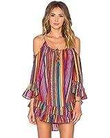 Vestido Amlaiworld Vestido con flecos de la playa de Fringe de la impresión del arco iris de las mujeres suelta de la gasa